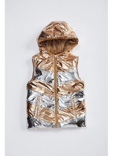 DeFacto Kız Bebek Kapüşonlı Renk Bloklu Şişme Yelek Gümüş
